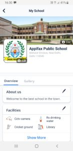 School Profile on Appifax mobile view