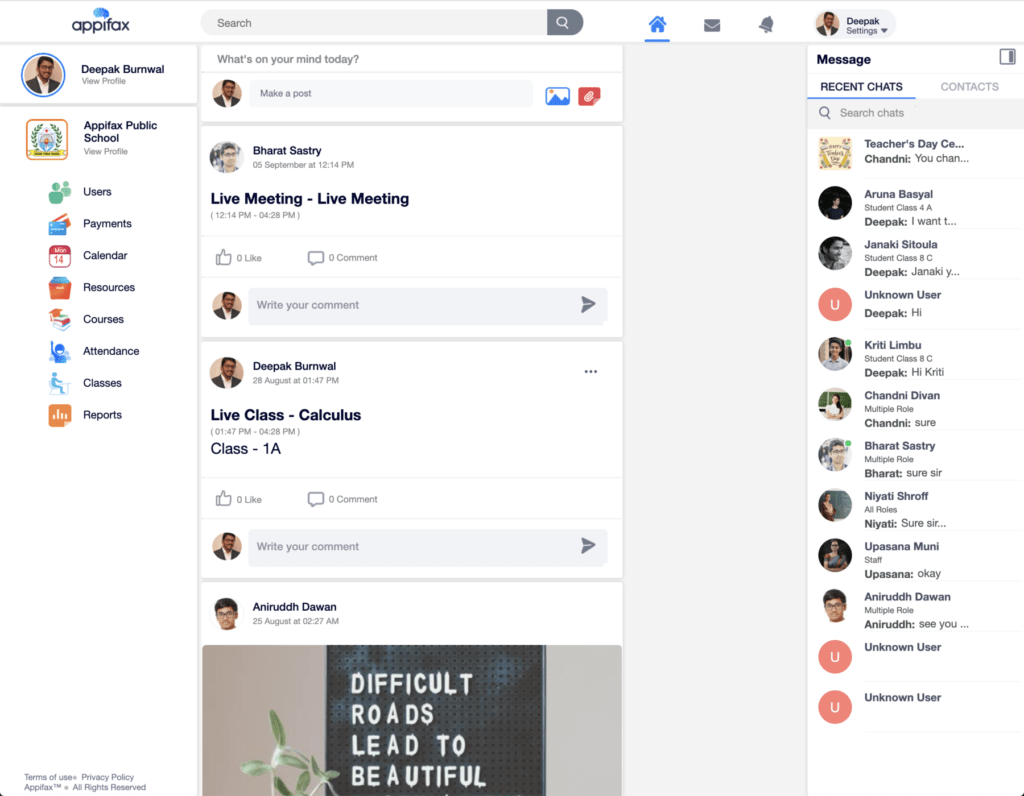 Appifax website looks very similar to Facebook's design making it easy for users